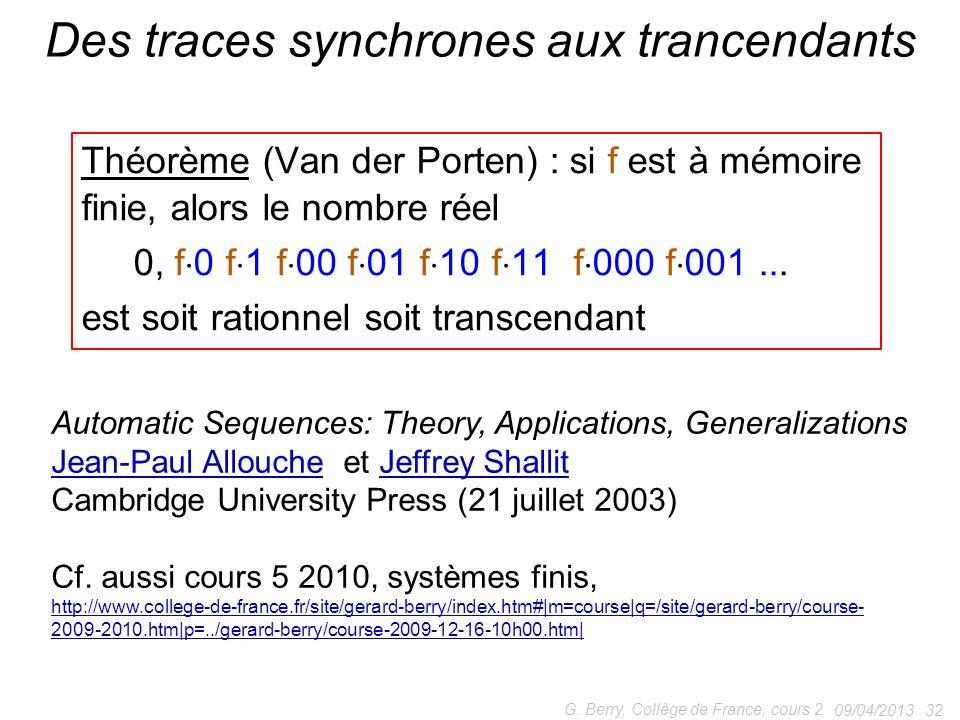 Des traces synchrones aux trancendants
