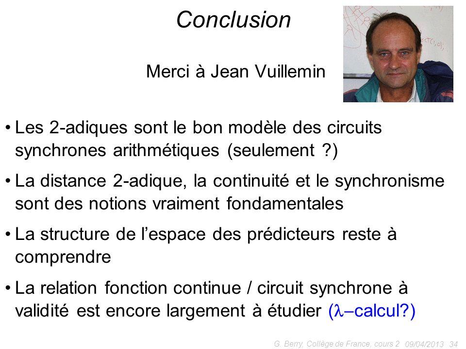 Conclusion Merci à Jean Vuillemin