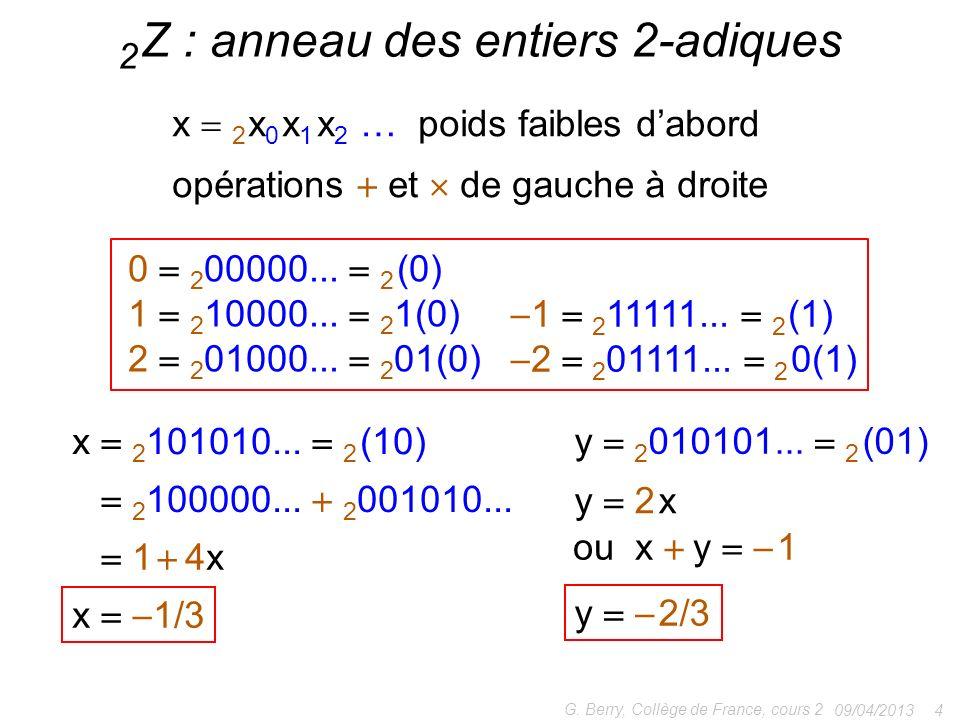 2 Z : anneau des entiers 2-adiques