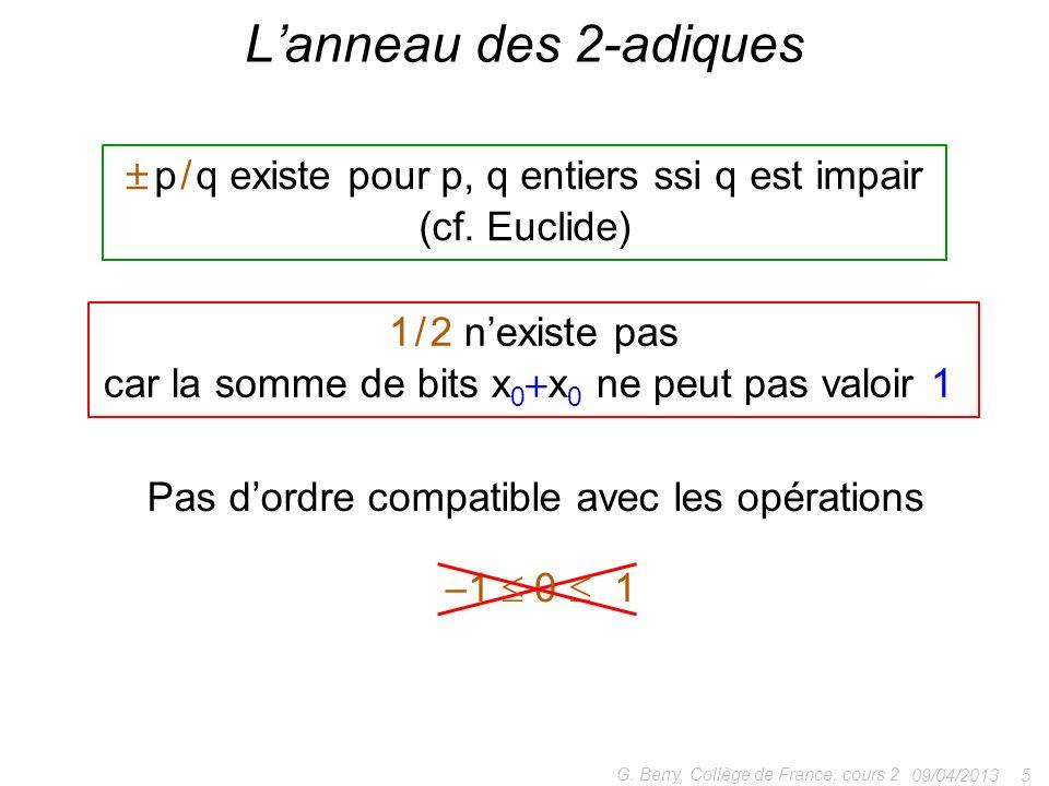 L'anneau des 2-adiques  p / q existe pour p, q entiers ssi q est impair. (cf. Euclide) 1 / 2 n'existe pas.