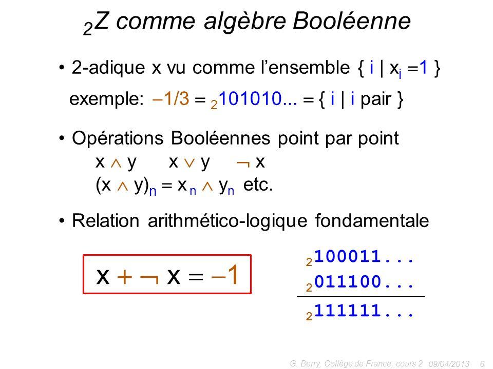 2 Z comme algèbre Booléenne