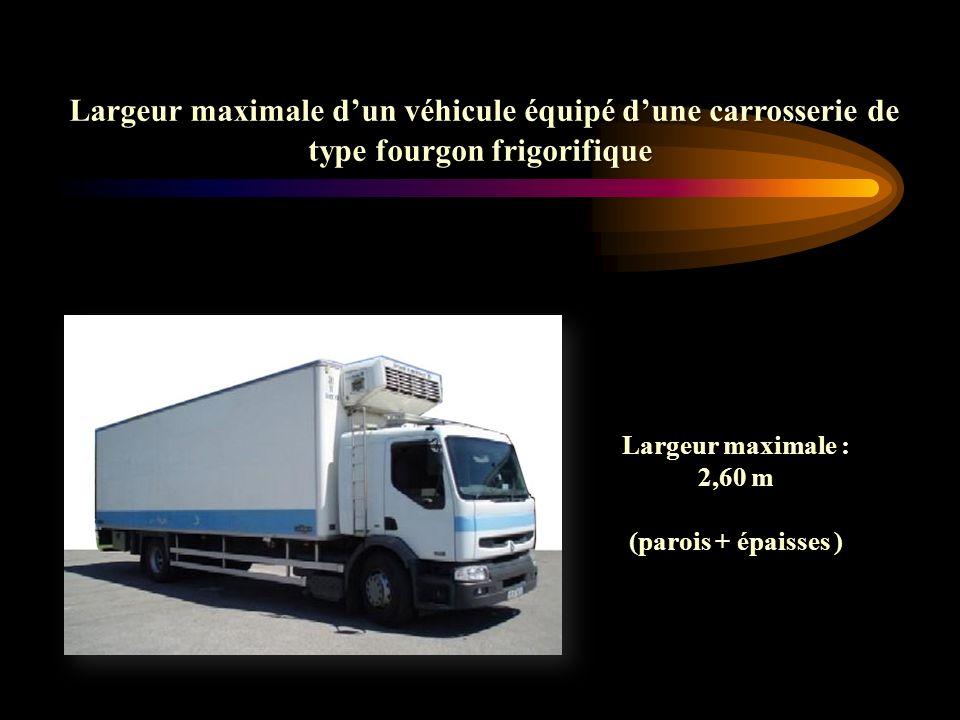 Largeur maximale d'un véhicule équipé d'une carrosserie de type fourgon frigorifique
