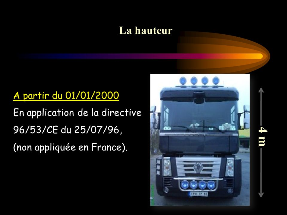 4 m La hauteur A partir du 01/01/2000 En application de la directive