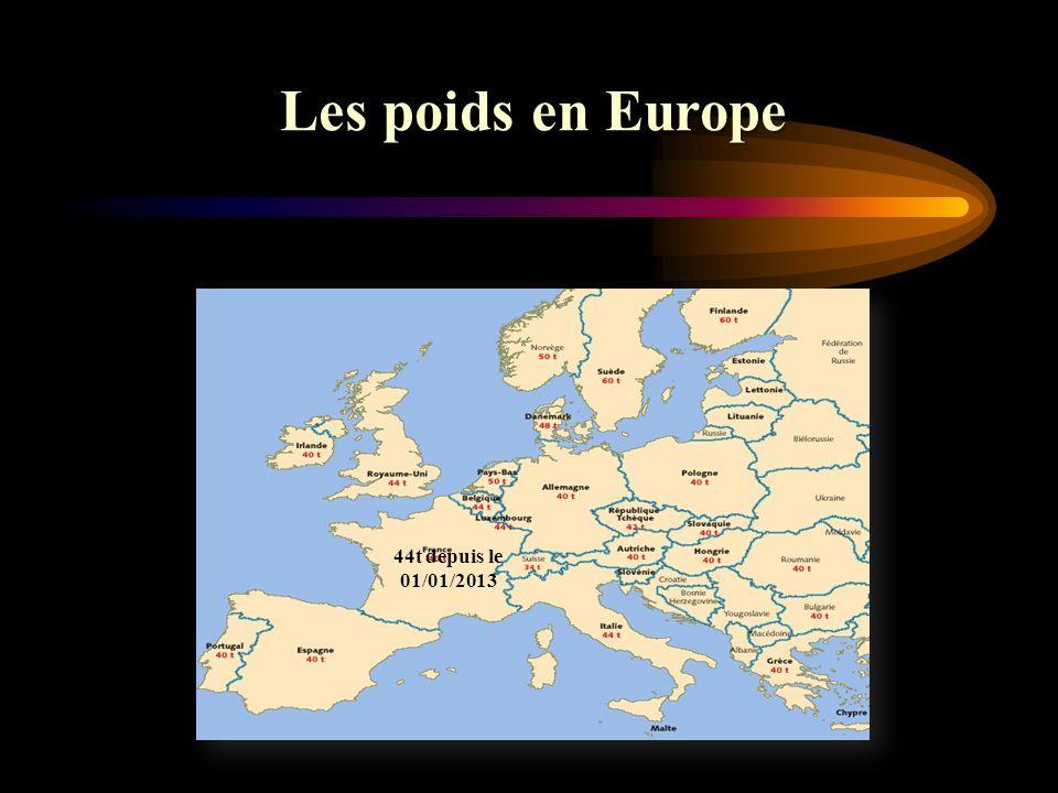 Les poids en Europe 44t depuis le 01/01/2013