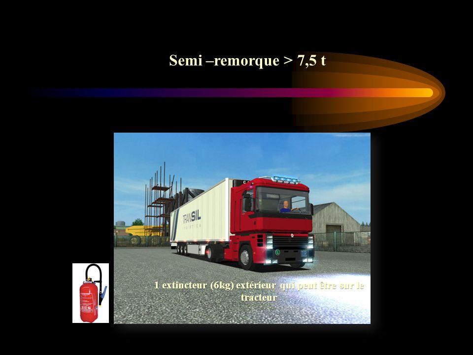 1 extincteur (6kg) extérieur qui peut être sur le tracteur