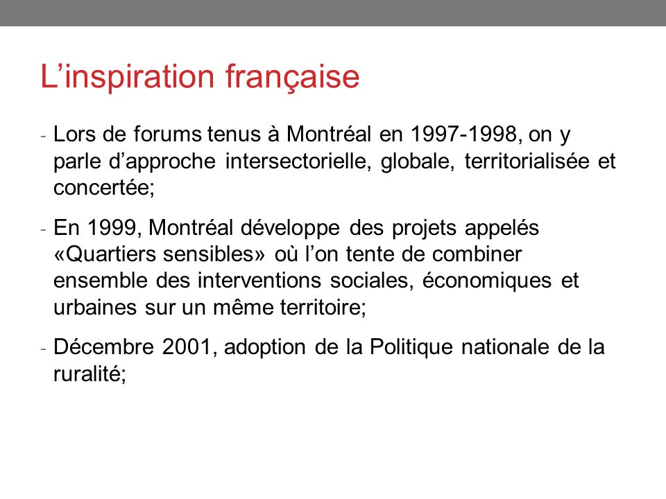 L'inspiration française