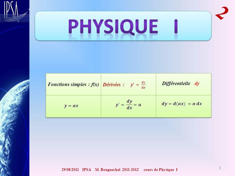 29/08/2011 IPSA M. Bouguechal 2011-2012 cours de Physique I