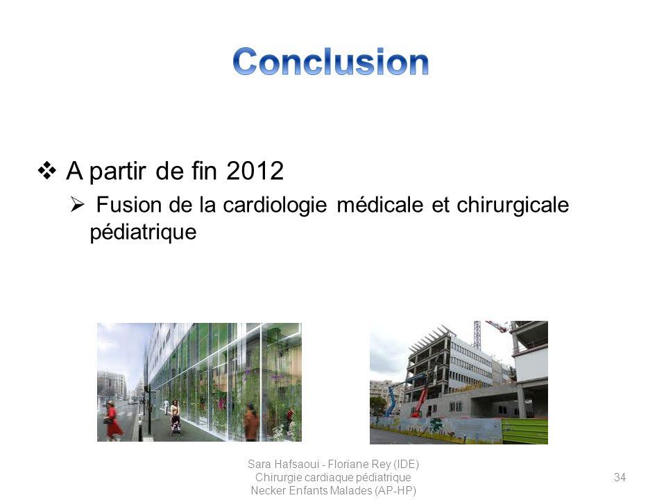 Conclusion A partir de fin 2012