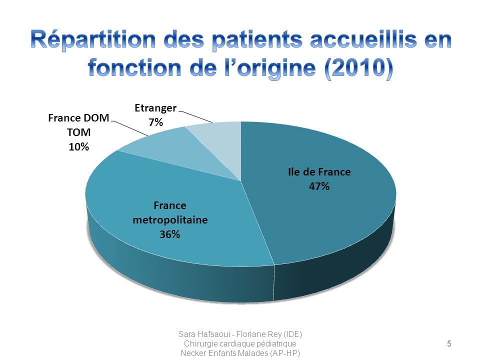 Répartition des patients accueillis en fonction de l'origine (2010)