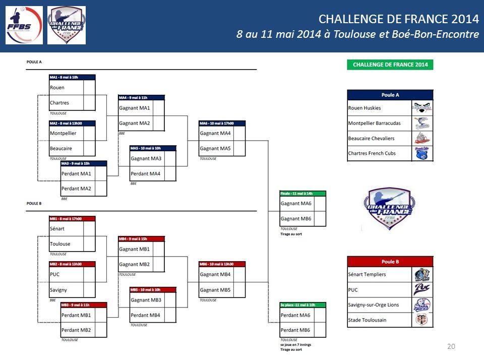 CHALLENGE DE FRANCE 2014 8 au 11 mai 2014 à Toulouse et Boé-Bon-Encontre