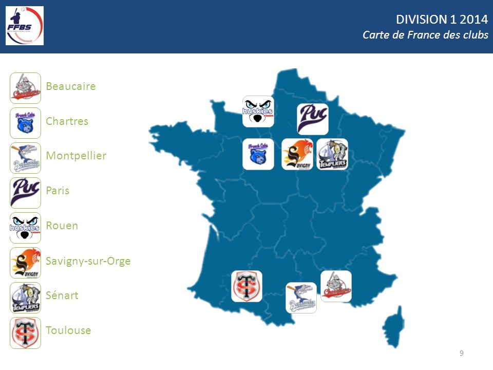 DIVISION 1 2014 Carte de France des clubs Beaucaire Chartres