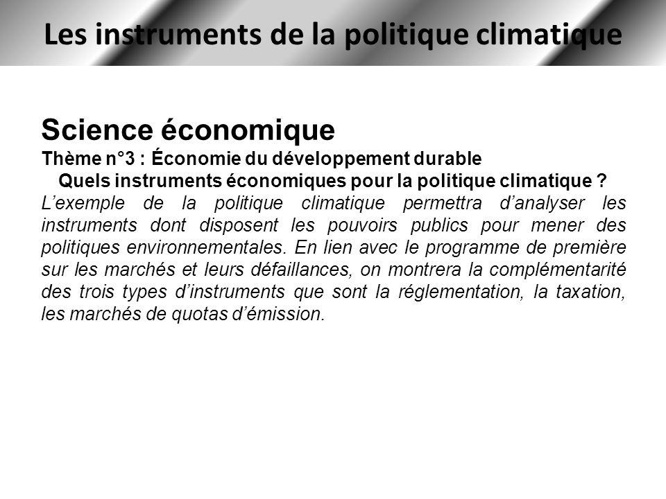 Les instruments de la politique climatique