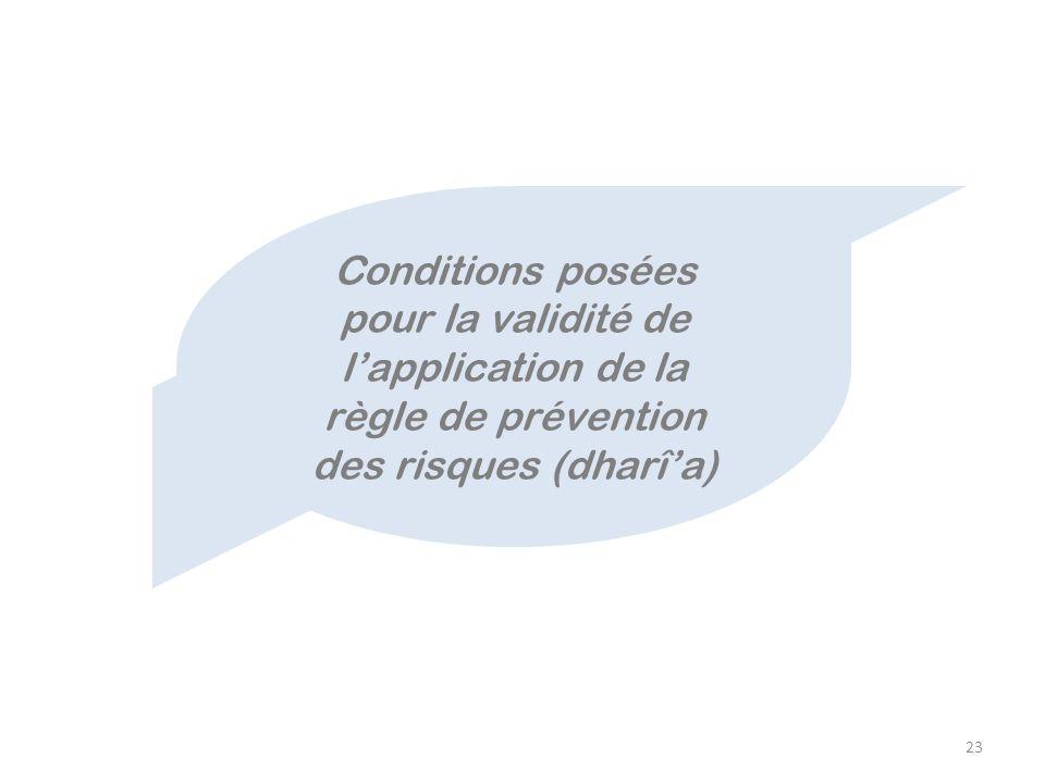 Conditions posées pour la validité de l'application de la règle de prévention des risques (dharî'a)