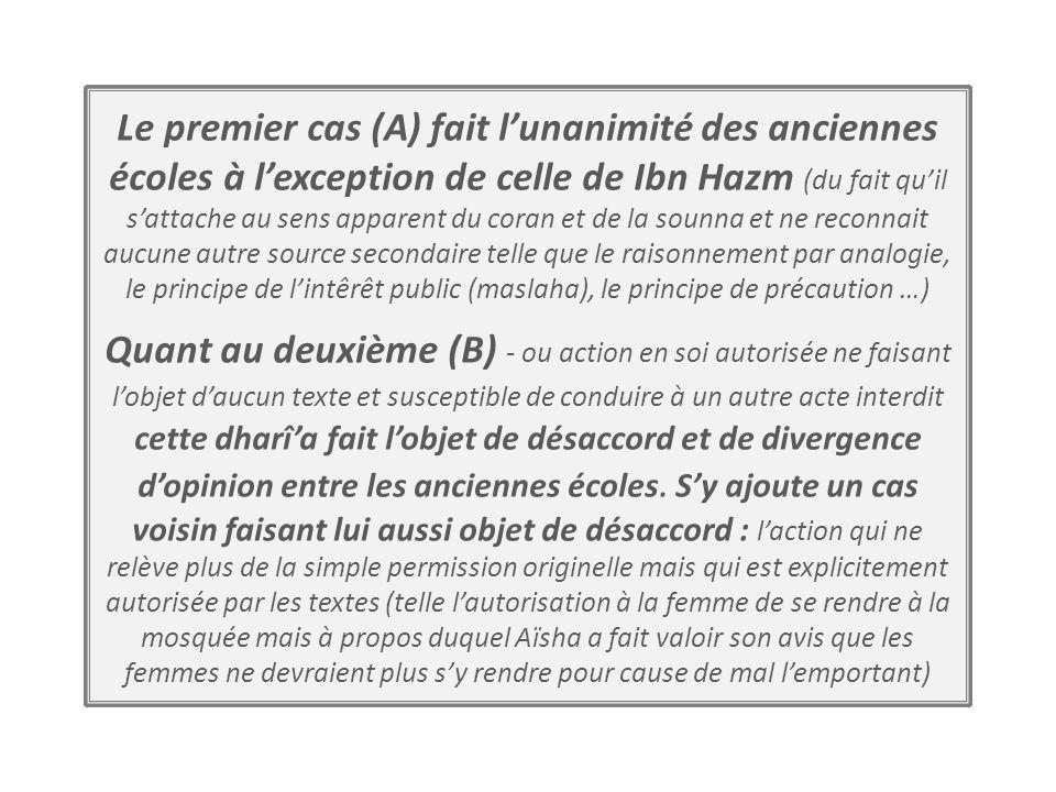 Le premier cas (A) fait l'unanimité des anciennes écoles à l'exception de celle de Ibn Hazm (du fait qu'il s'attache au sens apparent du coran et de la sounna et ne reconnait aucune autre source secondaire telle que le raisonnement par analogie, le principe de l'intêrêt public (maslaha), le principe de précaution …)