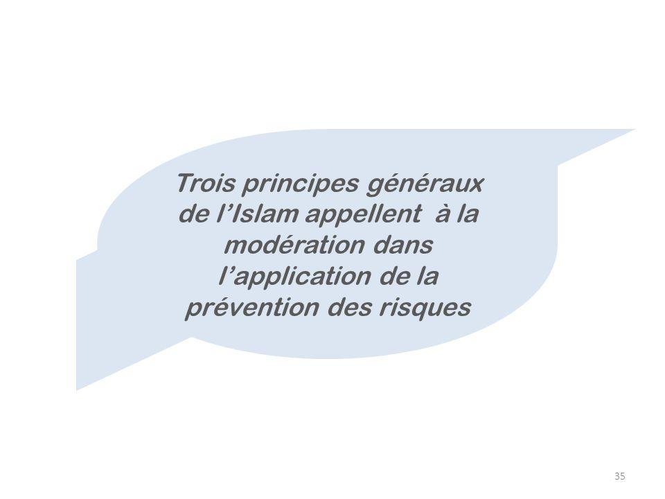 Trois principes généraux de l'Islam appellent à la modération dans l'application de la prévention des risques