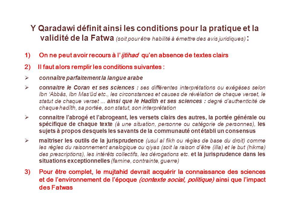 Y Qaradawi définit ainsi les conditions pour la pratique et la validité de la Fatwa (soit pour être habilité à émettre des avis juridiques) :