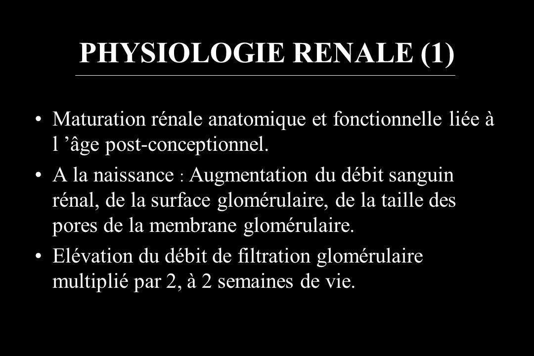 PHYSIOLOGIE RENALE (1) Maturation rénale anatomique et fonctionnelle liée à l 'âge post-conceptionnel.