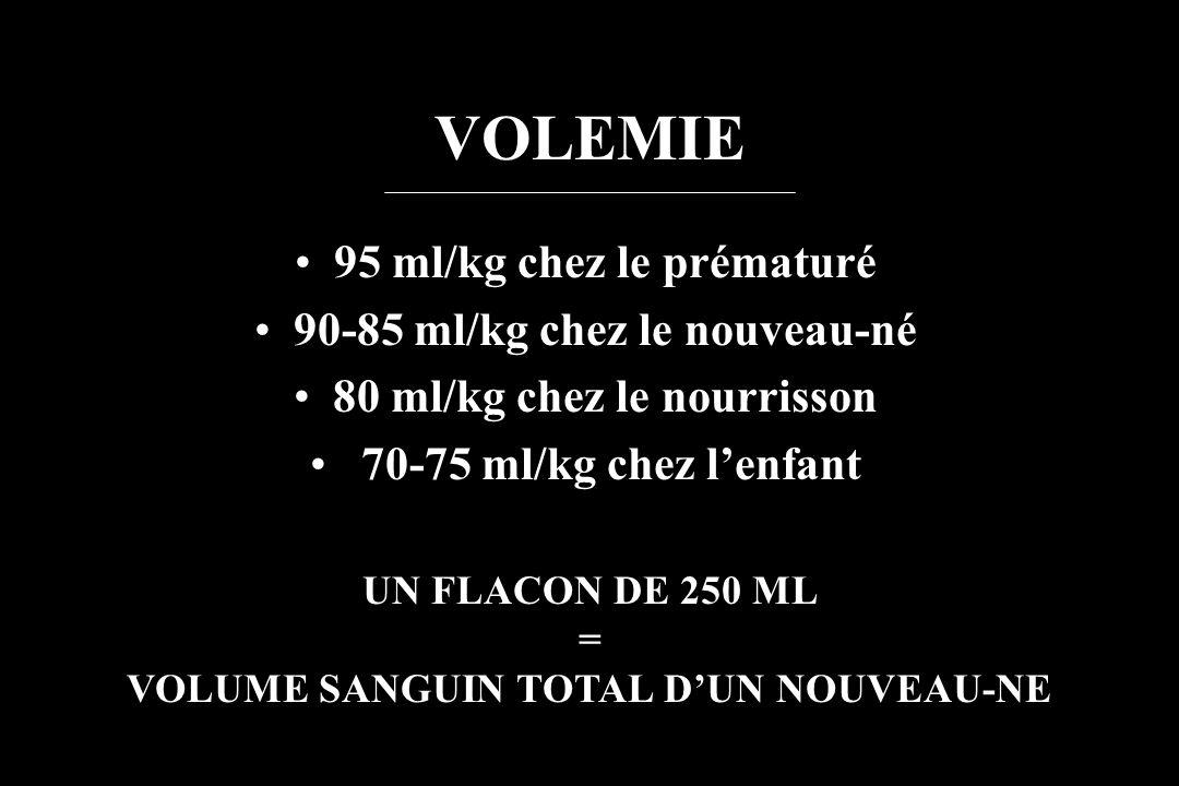 VOLEMIE 95 ml/kg chez le prématuré 90-85 ml/kg chez le nouveau-né