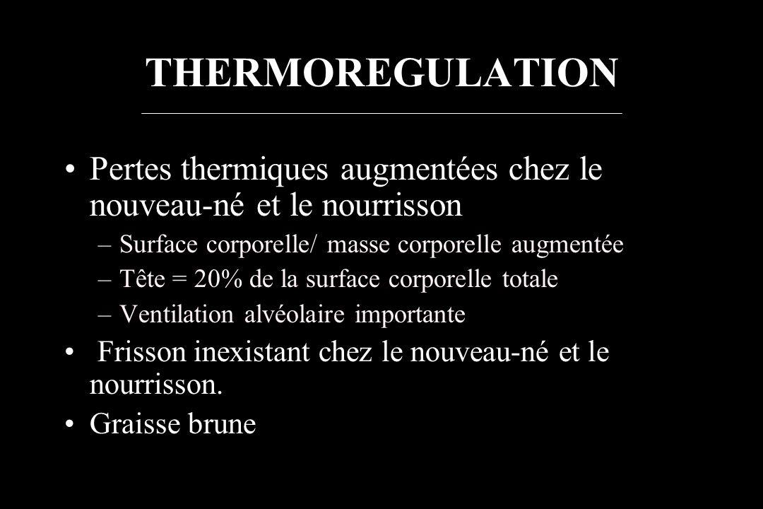 THERMOREGULATION Pertes thermiques augmentées chez le nouveau-né et le nourrisson. Surface corporelle/ masse corporelle augmentée.