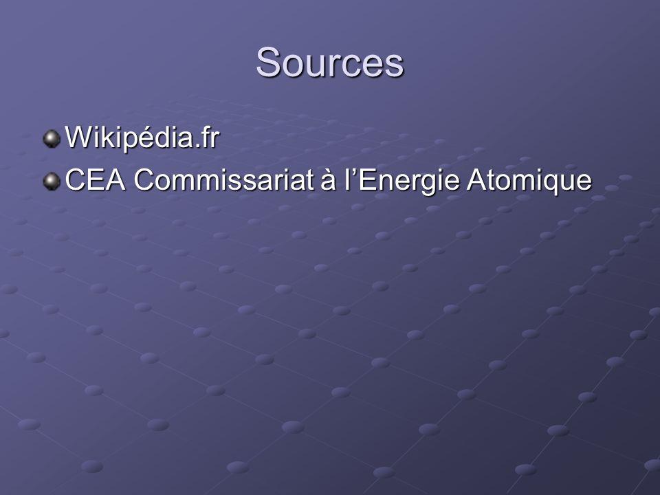 Sources Wikipédia.fr CEA Commissariat à l'Energie Atomique