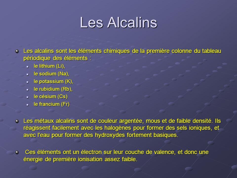 Les Alcalins Les alcalins sont les éléments chimiques de la première colonne du tableau périodique des éléments :