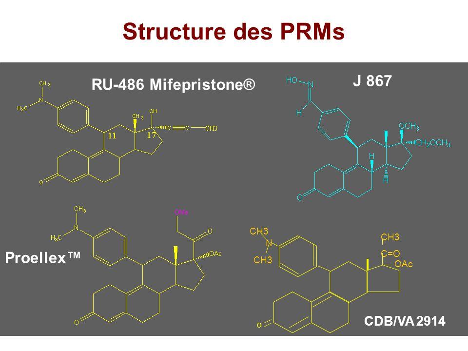Structure des PRMs J 867 RU-486 Mifepristone® Proellex™ CDB/VA 2914 11