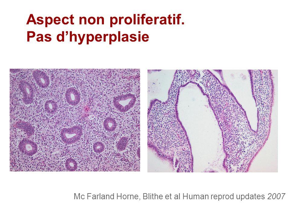 Aspect non proliferatif. Pas d'hyperplasie