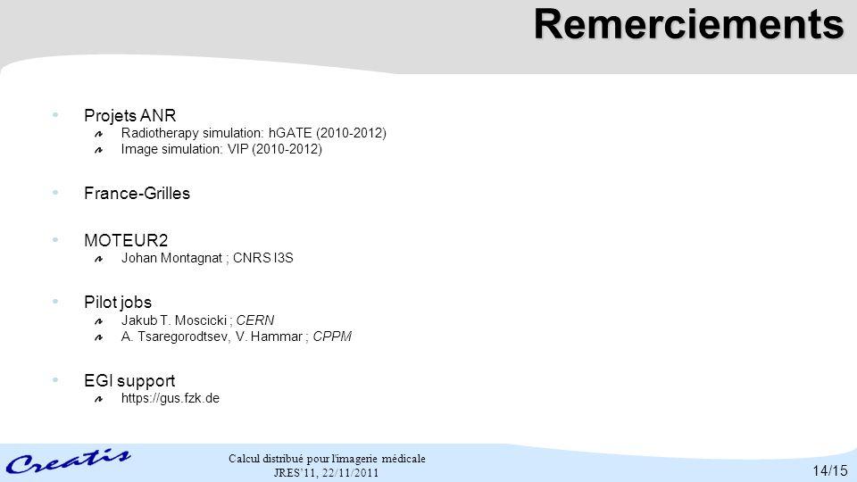 Remerciements Projets ANR France-Grilles MOTEUR2 Pilot jobs