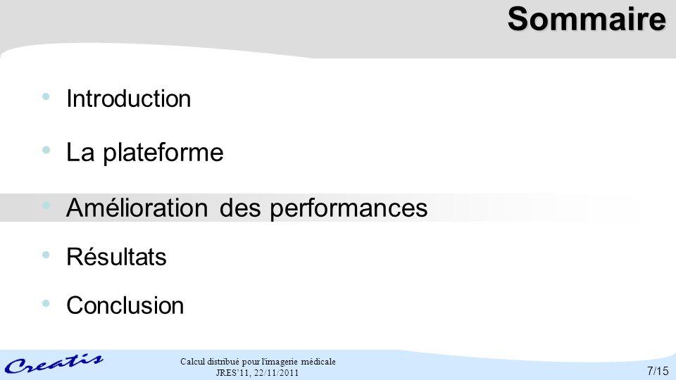 Sommaire La plateforme Amélioration des performances Introduction