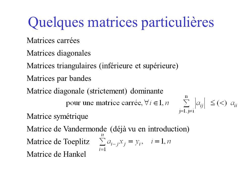 Quelques matrices particulières