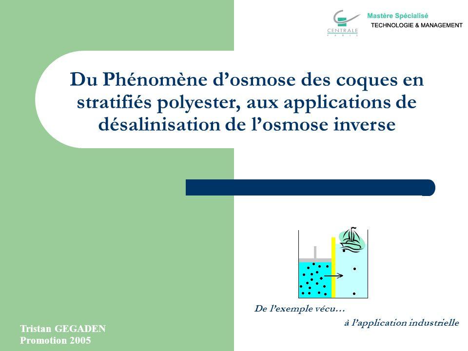 Du Phénomène d'osmose des coques en stratifiés polyester, aux applications de désalinisation de l'osmose inverse