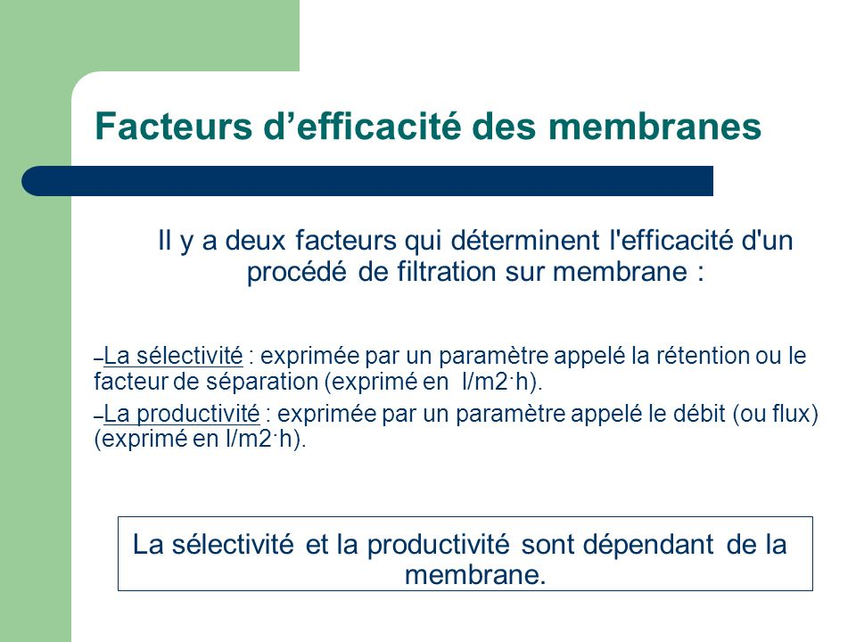 Facteurs d'efficacité des membranes