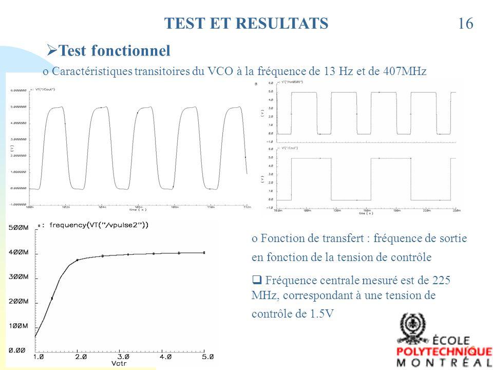 TEST ET RESULTATS 16 Test fonctionnel