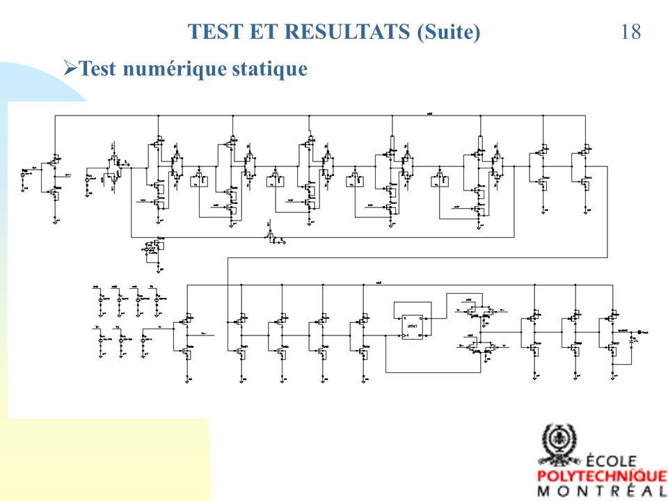TEST ET RESULTATS (Suite)
