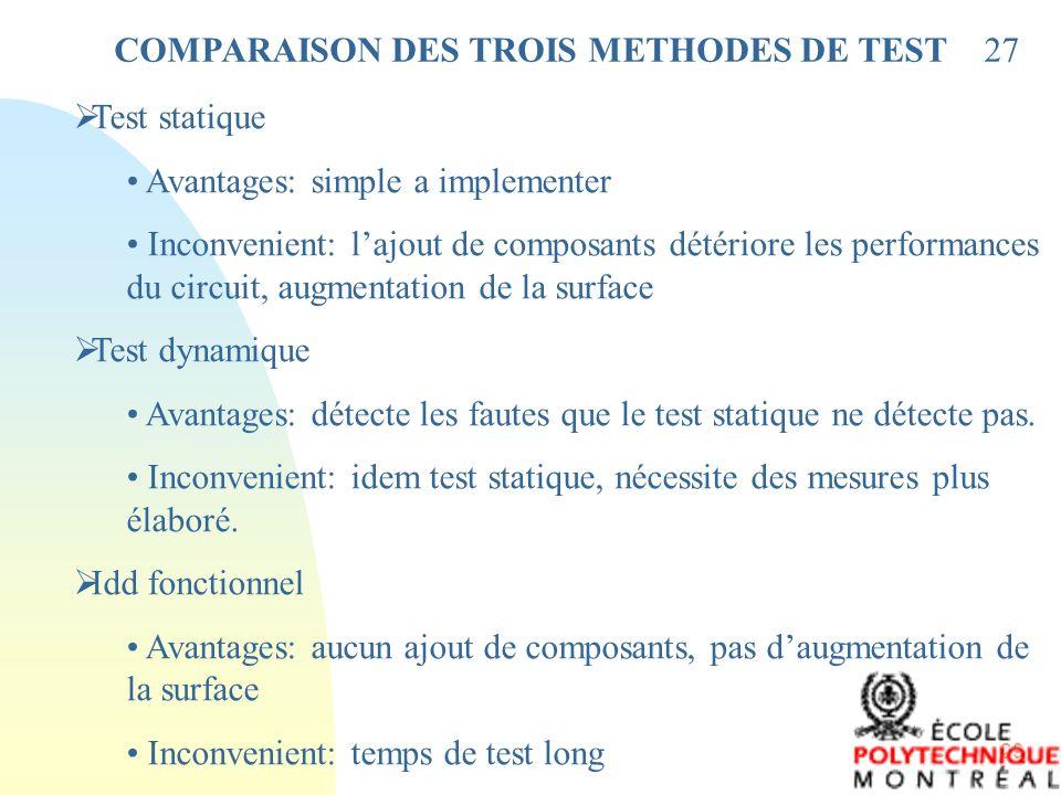 COMPARAISON DES TROIS METHODES DE TEST