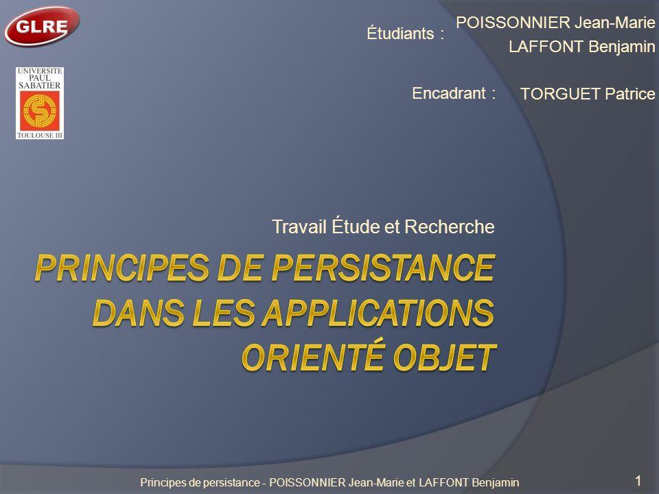 Principes de persistance dans les applications orienté objet