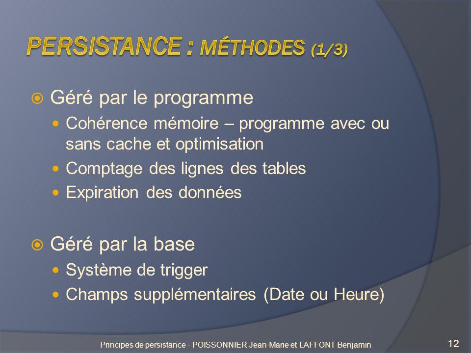 Persistance : méthodes (1/3)