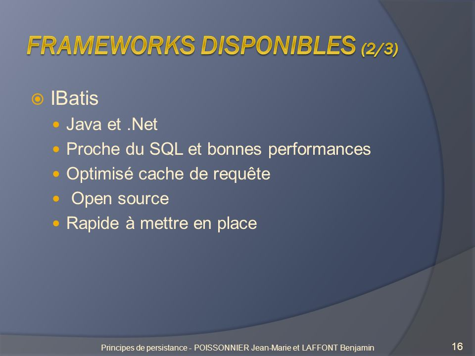 Frameworks disponibles (2/3)