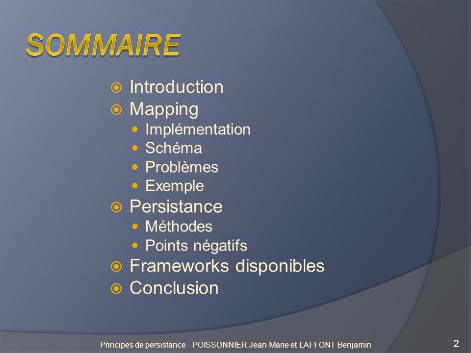 Principes de persistance - POISSONNIER Jean-Marie et LAFFONT Benjamin