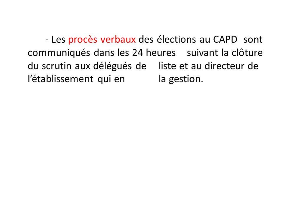 - Les procès verbaux des élections au CAPD