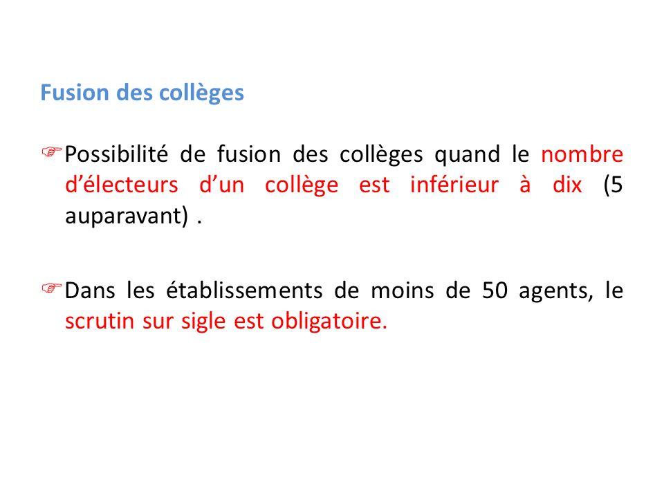 Fusion des collèges Possibilité de fusion des collèges quand le nombre d'électeurs d'un collège est inférieur à dix (5 auparavant) .