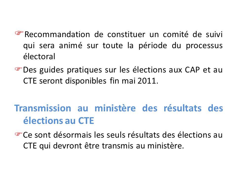 Transmission au ministère des résultats des élections au CTE