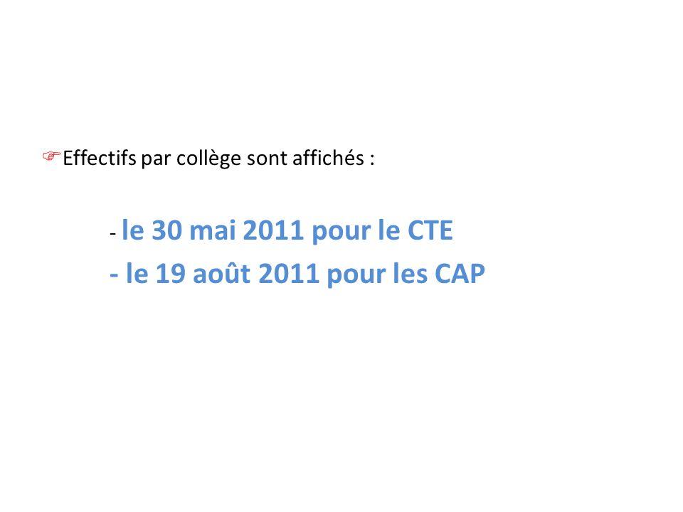- le 19 août 2011 pour les CAP Effectifs par collège sont affichés :