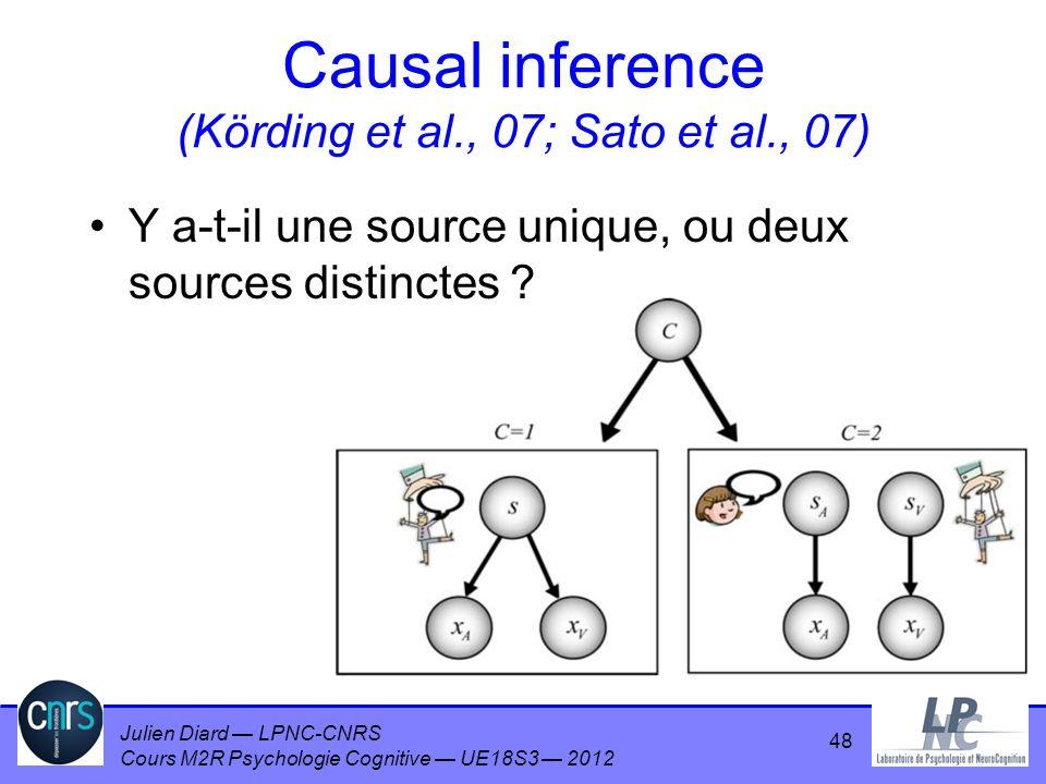 Causal inference (Körding et al., 07; Sato et al., 07)