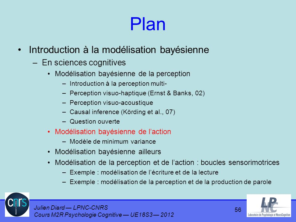 Plan Introduction à la modélisation bayésienne En sciences cognitives