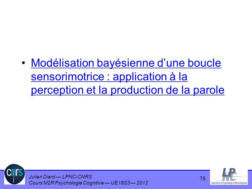 Modélisation bayésienne d'une boucle sensorimotrice : application à la perception et la production de la parole