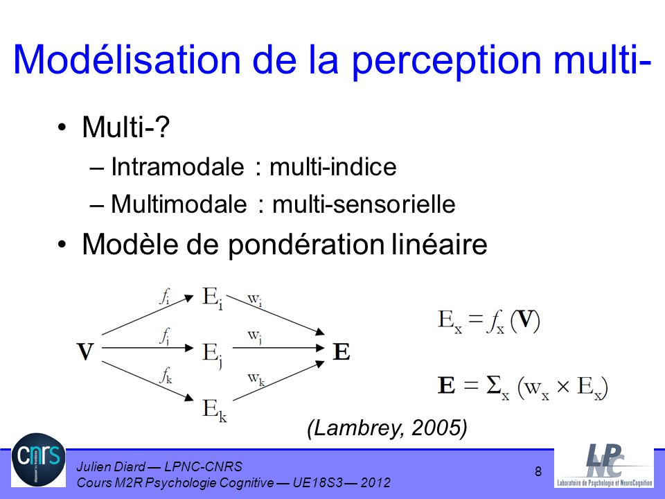 Modélisation de la perception multi-