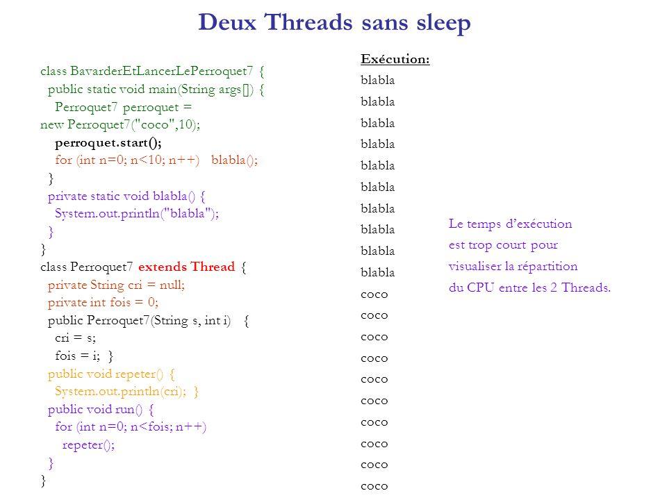 Deux Threads sans sleep