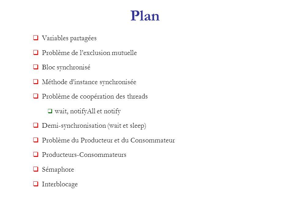 Plan Variables partagées Problème de l'exclusion mutuelle