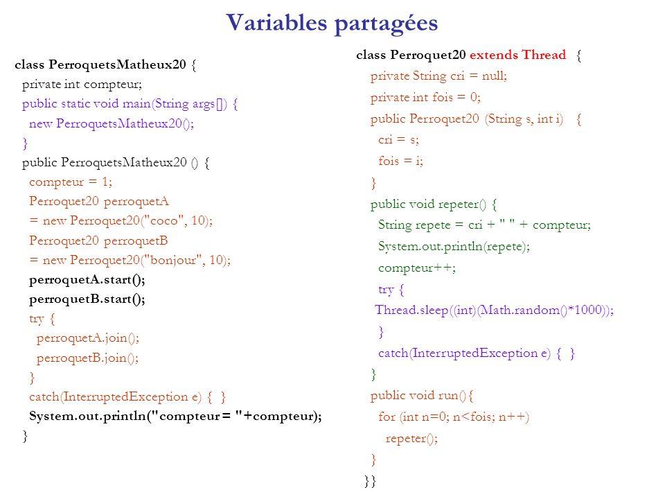 Variables partagées class Perroquet20 extends Thread {